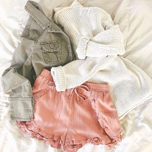 Pants - Blush Ruffle Shorts